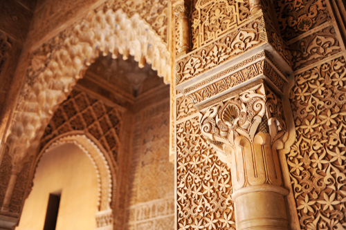 Arab Islamic architecture, plasterwork art at the Alhambra palace in Granada, Andalusia, Spain