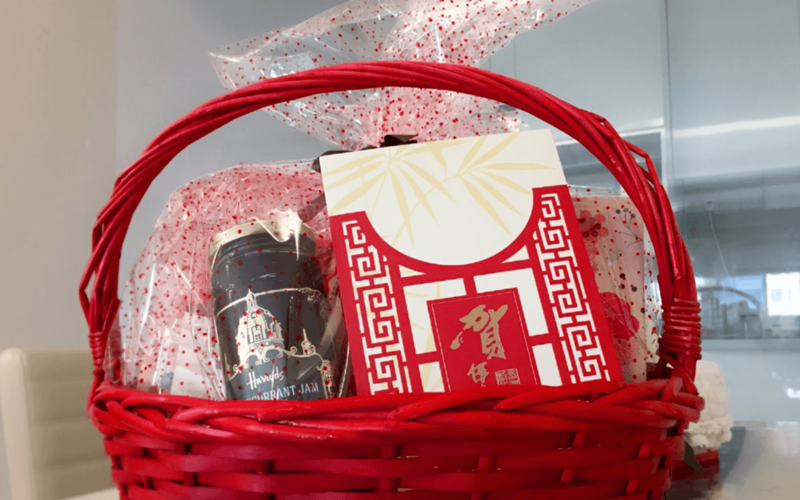 Gift basket for neighbours for Chinese New Year